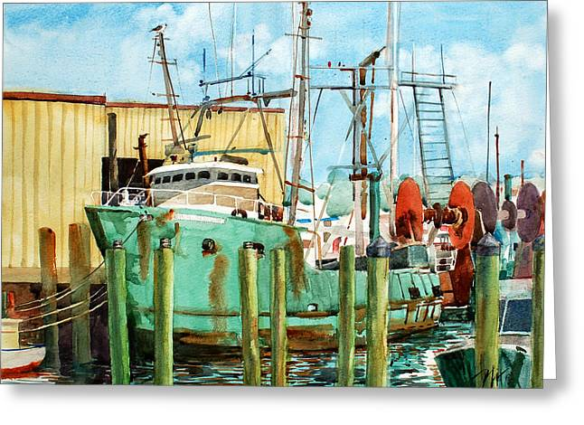 Perfect Storm Greeting Cards - Lady Grace Trawler Greeting Card by Peter Sit