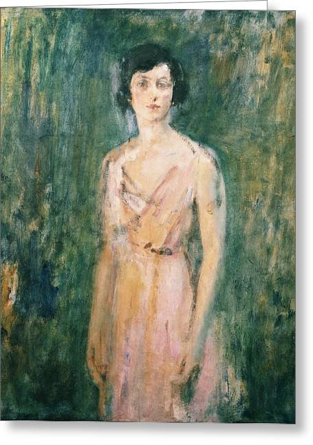 Background Paintings Greeting Cards - Lady in a Pink Dress Greeting Card by Ambrose McEvoy