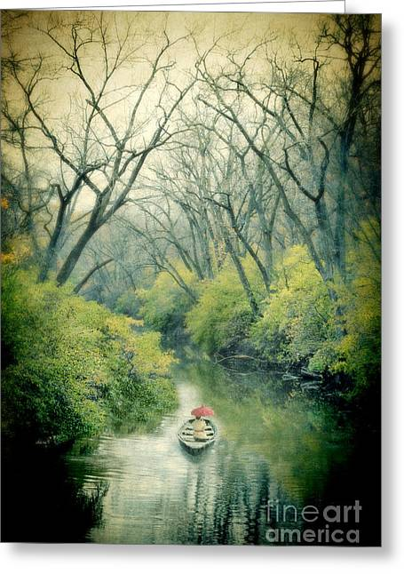 Row Boat Greeting Cards - Lady in a Row Boat on a River Greeting Card by Jill Battaglia