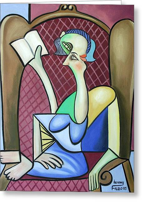 Cubist Mixed Media Greeting Cards - Lady In A Winged Back Chair Greeting Card by Anthony Falbo