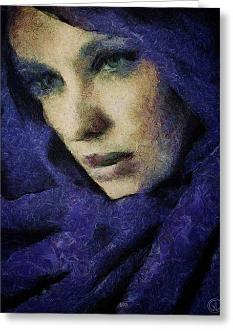 Woman Head Greeting Cards - Lady in blue Greeting Card by Gun Legler