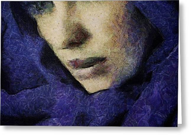 Lady in blue Greeting Card by Gun Legler