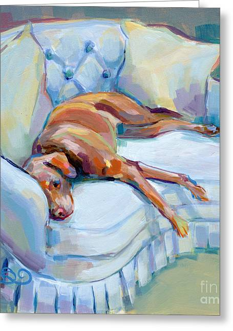Chocolate Lab Greeting Cards - Lady in Blue Greeting Card by Kimberly Santini