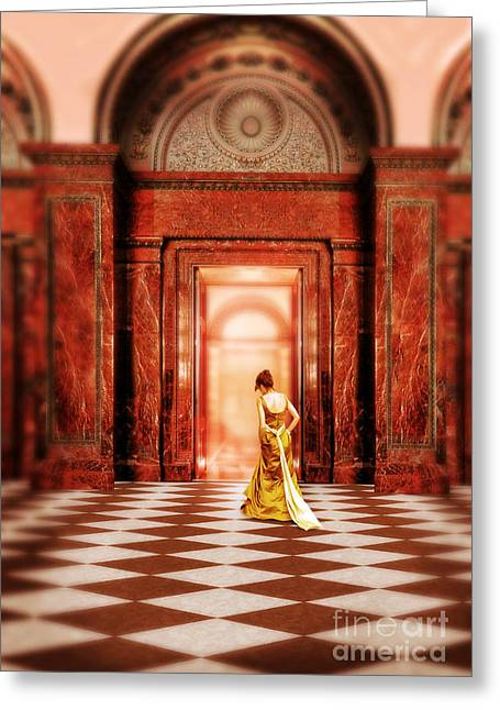 Historical Costume Greeting Cards - Lady in Golden Gown Walking Through Doorway Greeting Card by Jill Battaglia