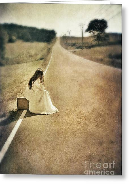 Bridal Gown Greeting Cards - Lady in Gown Sitting by Road on Suitcase Greeting Card by Jill Battaglia