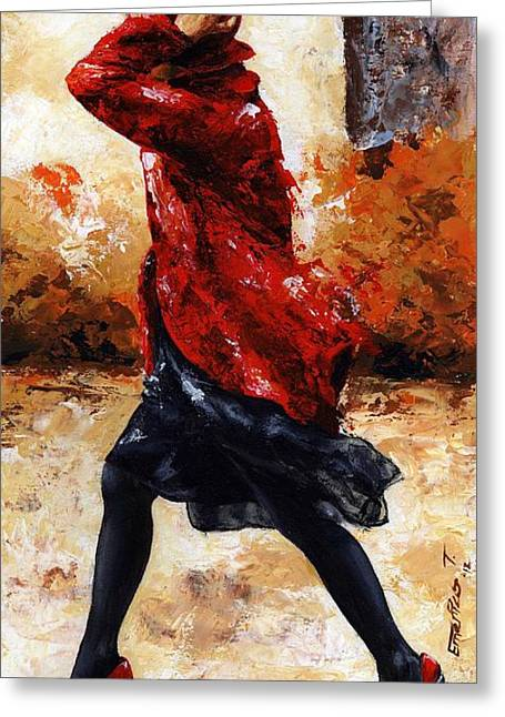 Red Shoes Greeting Cards - Lady in Red 28 Greeting Card by Emerico Imre Toth