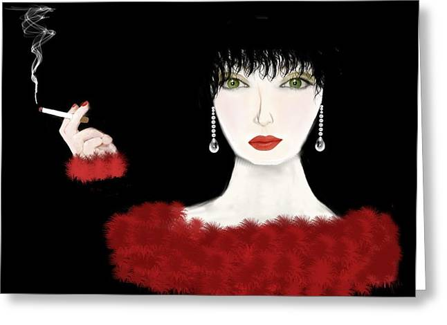 Lady in Red Art Deco Greeting Card by Tanya Van Gorder