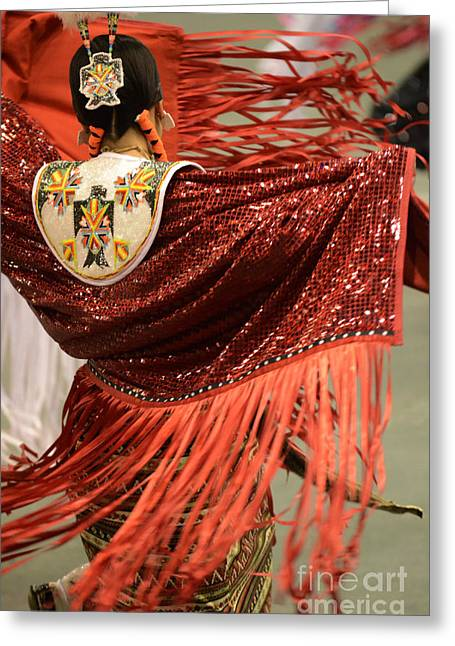 Fancy-dancer Greeting Cards - Lady In Red Greeting Card by Bob Christopher