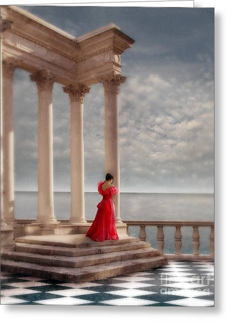 Maiden Greeting Cards - Lady in Red Gown by the Sea Greeting Card by Jill Battaglia