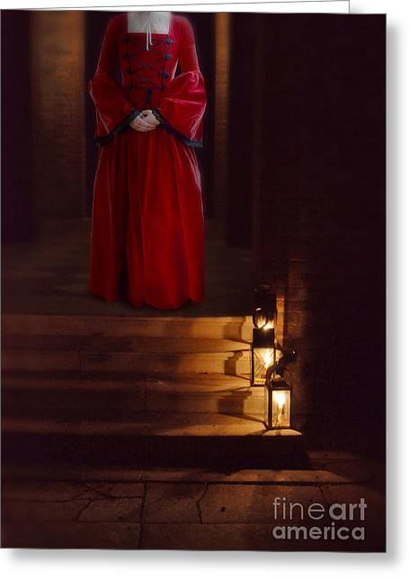 Evening Dress Greeting Cards - Lady in Red Renaissance Gown by Landterns Greeting Card by Jill Battaglia
