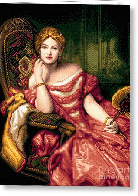 Cross Tapestries - Textiles Greeting Cards - Lady in red Greeting Card by Stoyanka Ivanova