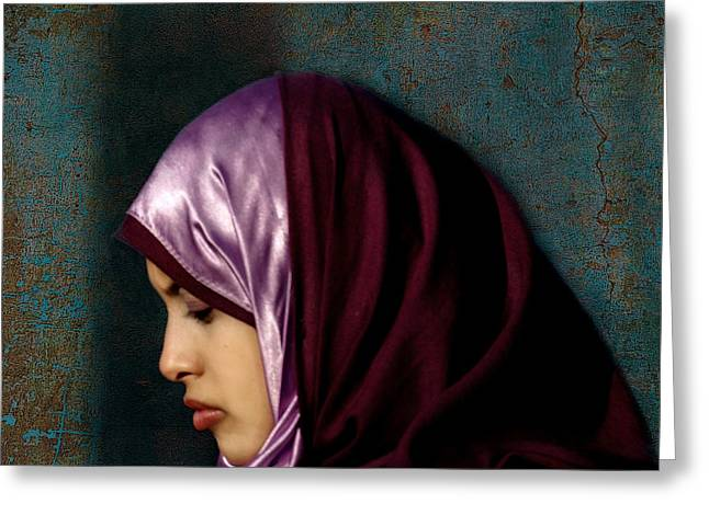 Hijab Fashion Greeting Cards - Lady in Red Version 2 Greeting Card by Bjorn Borge-Lunde