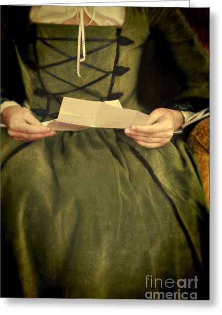 Renaissance Clothing Greeting Cards - Lady in Renaissance Gown with Letter Greeting Card by Jill Battaglia