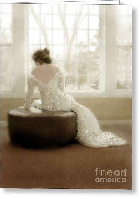 Sequins Greeting Cards - Lady in Sequin Gown Greeting Card by Jill Battaglia