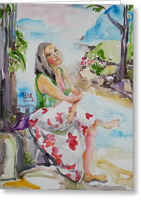 Portrait With Mountain Greeting Cards - Lady in Summer Greeting Card by Becky Kim