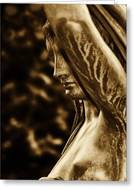 Fairmount Park Greeting Cards - Lady in the Garden in Sepia Greeting Card by Bill Cannon
