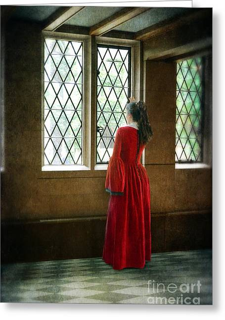 Renaissance Clothing Greeting Cards - Lady in Tudor Gown Looking out a Window Greeting Card by Jill Battaglia