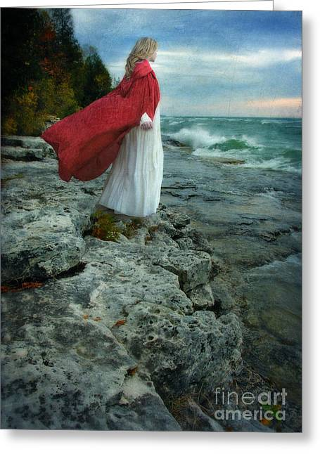 Young Lady Greeting Cards - Lady in Vintage Clothing by the Sea Greeting Card by Jill Battaglia