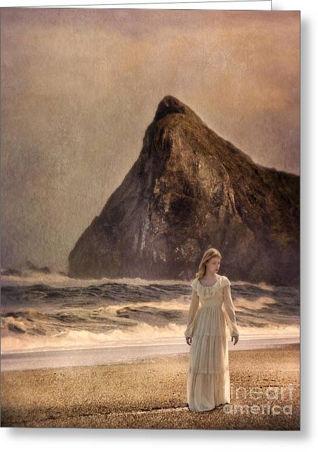 Young Lady Greeting Cards - Lady in Vintage Gown Walking on the Beach Greeting Card by Jill Battaglia