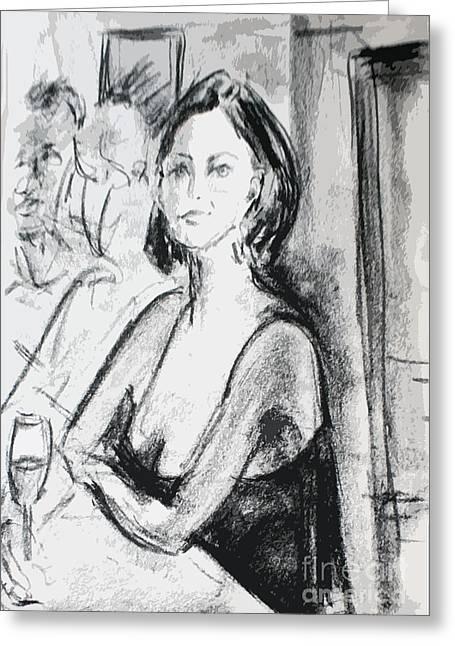 Wine Scene Drawings Greeting Cards - Lady in waiting Greeting Card by Reza Sepahdari