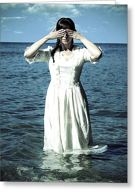 Blind Eyes Greeting Cards - Lady In Water Greeting Card by Joana Kruse