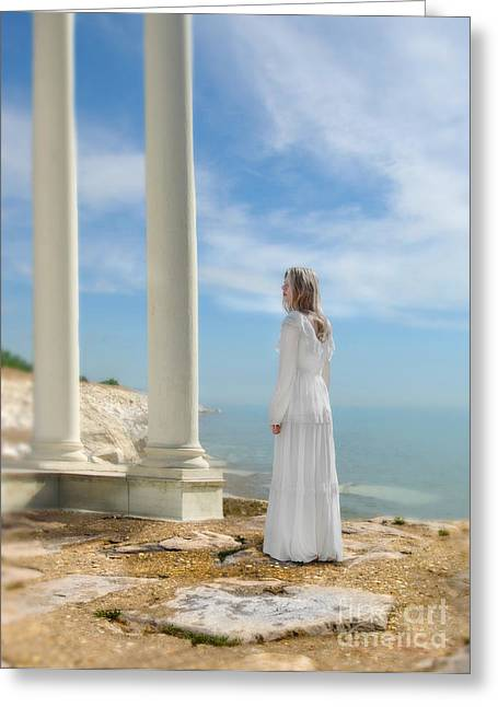 Young Lady Greeting Cards - Lady in White by the Sea Greeting Card by Jill Battaglia