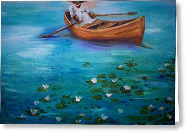 African American Greeting Cards - Lady Lake Greeting Card by Janie McGee