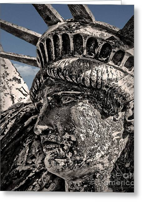 Independance Greeting Cards - Lady Liberty Greeting Card by Danuta Bennett