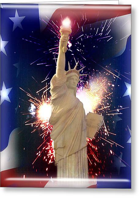 4th July Mixed Media Greeting Cards - Lady Liberty Greeting Card by Gravityx Designs