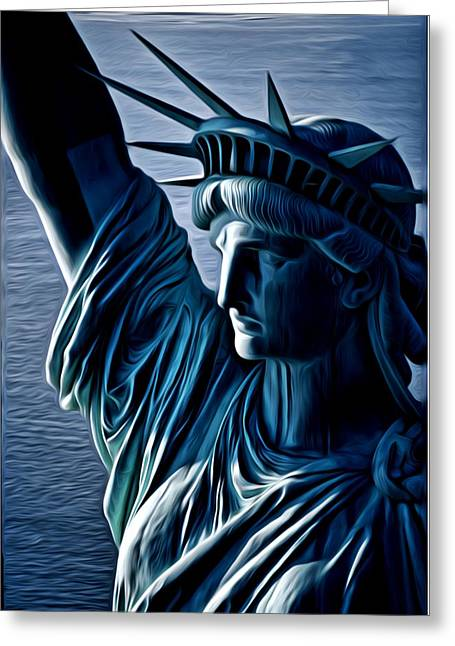 Statue Of Liberty Mixed Media Greeting Cards - Lady Liberty Greeting Card by Kevin  Sherf