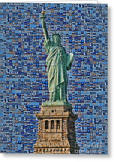 Monument Greeting Cards - Lady Liberty Mosaic Greeting Card by Susan Candelario