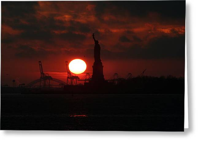 Tablets Of Law Greeting Cards - Lady Liberty Sunset Greeting Card by Matthew Breslow