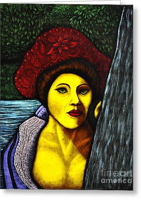 Prince Glass Art Greeting Cards - Lady Of The Forest Greeting Card by Valerie Lynn