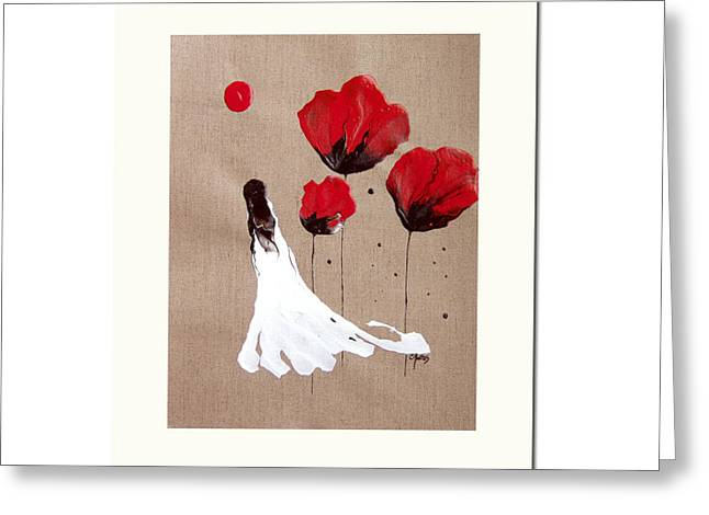 Best Sellers -  - Catherine White Greeting Cards - Lady Of The Poppies -Contemporary Abstract Woman Red Flowers Fantasy Greeting Card by Catherine Jeltes