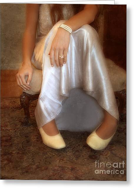 Engagement Ring Greeting Cards - Lady on Footstool Greeting Card by Jill Battaglia