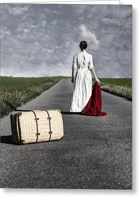 Endless Greeting Cards - Lady On The Road Greeting Card by Joana Kruse