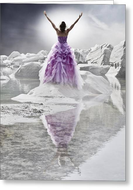 Foggy. Mist Greeting Cards - Lady on the rocks Greeting Card by Joana Kruse
