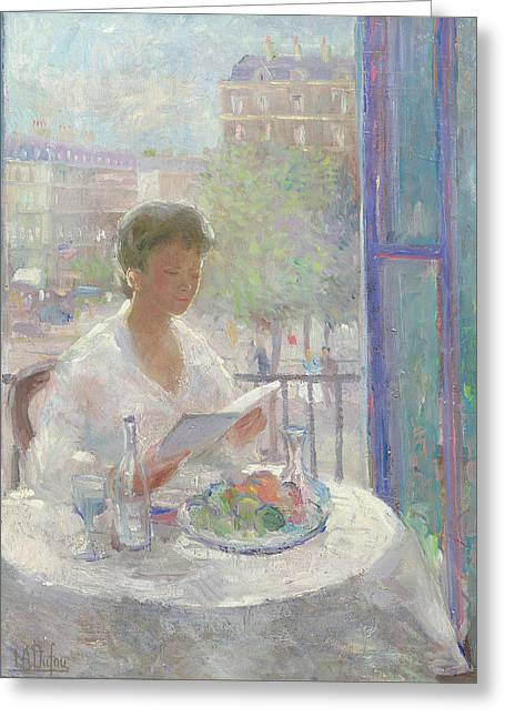 French Open Paintings Greeting Cards - Lady Reading at an Open Window  Greeting Card by Clementine Helene Dufau