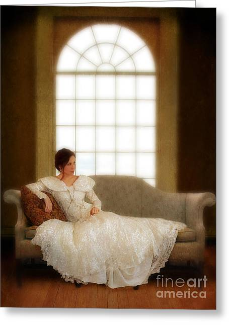 Sequin Greeting Cards - Lady Sitting on Sofa by Window Greeting Card by Jill Battaglia