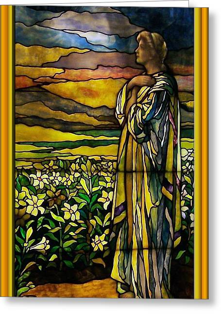 Colorful Photos Glass Art Greeting Cards - Lady Stained Glass Window Greeting Card by Thomas Woolworth