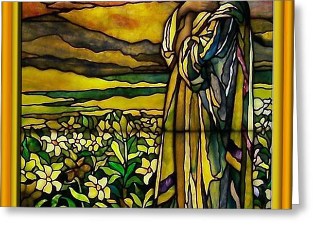 Lady Stained Glass Window Greeting Card by Thomas Woolworth