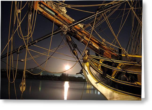 Lady Washington - Moonlight on Coos Bay Greeting Card by Gary Rifkin