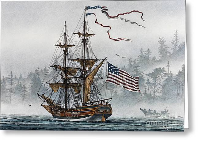 Maritime Print Greeting Cards - Lady Washington Greeting Card by James Williamson