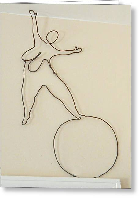 Weld Sculptures Greeting Cards - Lady With 1 Foot On The Ball   Greeting Card by Tommy  Urbans