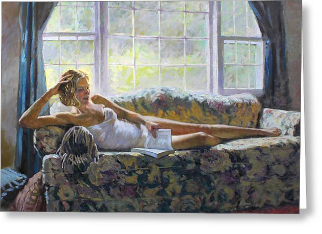 Couch Greeting Cards - Lady with a Book Greeting Card by Ylli Haruni