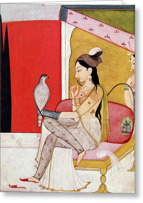 18th Century Greeting Cards - Lady with a Hawk Greeting Card by Guler School