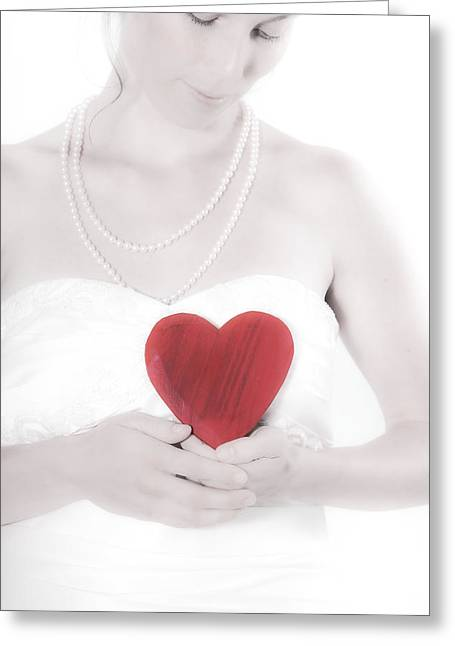 Love Laces Greeting Cards - Lady with a heart Greeting Card by Joana Kruse