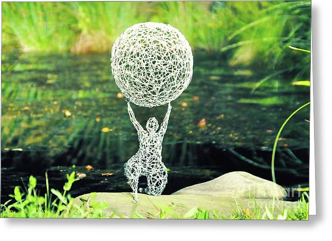Weld Sculptures Greeting Cards - Lady with Ball Greeting Card by Tommy  Urbans