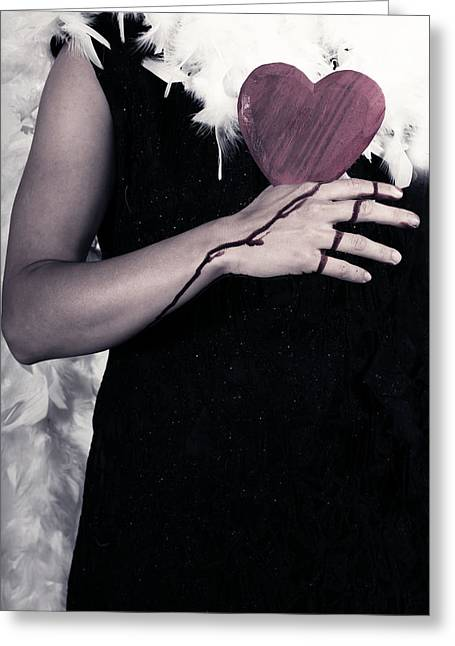 Lady With Blood And Heart Greeting Card by Joana Kruse