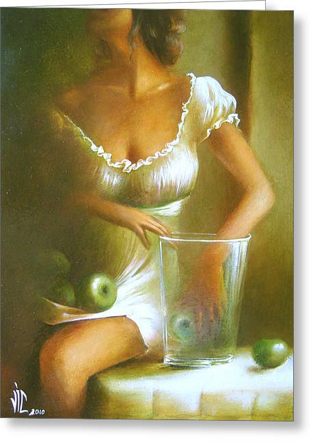Still Life With Green Apples Greeting Cards - Lady with green apples Greeting Card by Vali Irina Ciobanu
